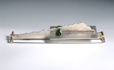 Brooch 1994 Silver, Stainless Steel, glass