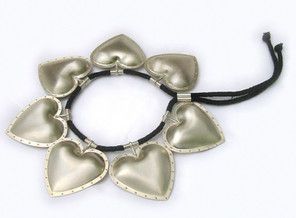 7 Locked Hearts Neck Piece 2002Silver, Gold, Cotton Lace