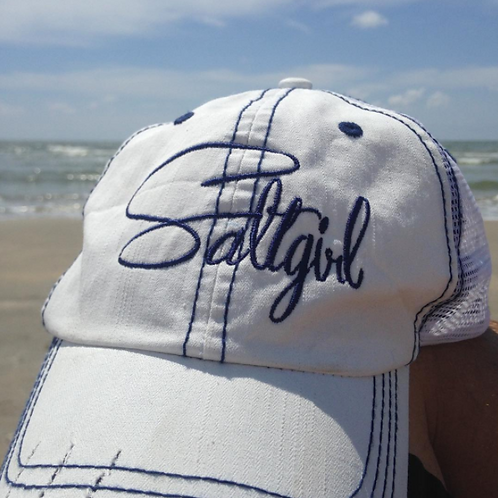 White/Navy Distressed Hat