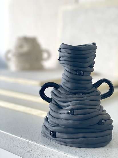 Set of 2 Coiled Decorative Vases