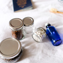 Glass Travel Jars of Various Sizes
