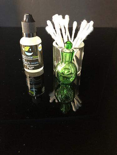 Q-tip holder w/iso jar + dark crystal clear quartz cleaner