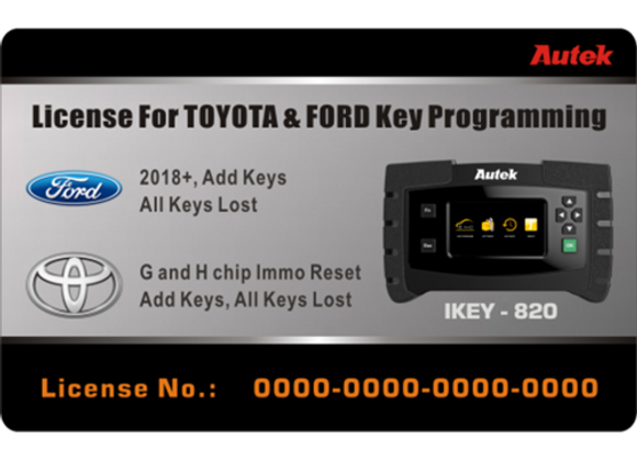 Autek IKEY820 License for Ford 2018+ and Toyota G and H Chip All Key Lost Key