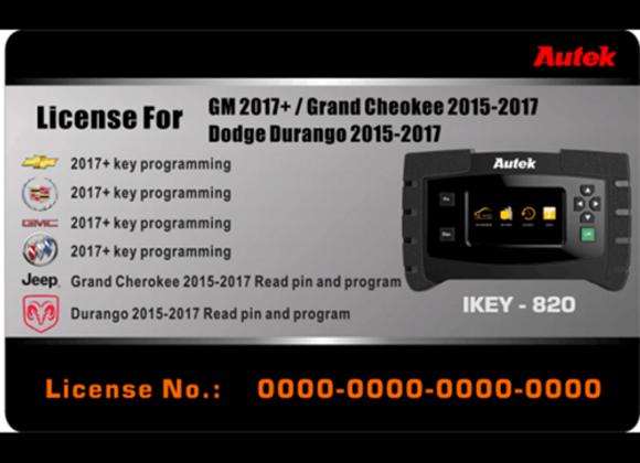 Autek License for GM, Jeep, Chrysler and Dodge Key Programming