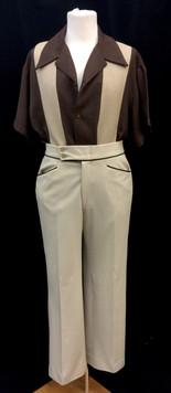 Brown short Sleeve shirt - Large, Cream