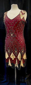 Chest 38 - Wine red and gold beaded frin