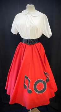 Skirt Small - Red poodle skirt w records