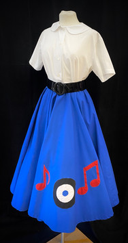 Skirt Small - blue poodle skirt with rec