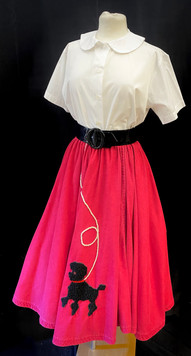 Skirt Medium - Red courduroy  Poodle ski