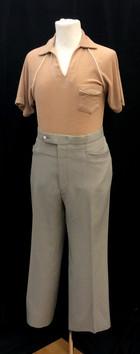 Tan Short Sleeve Shirt - Small, Pants -