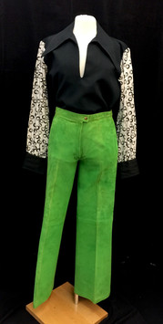 Black shirt - Small, green suede pants -