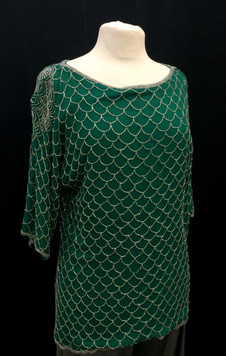 Chest 40 Large - green 'scale' beaded to