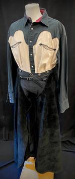 Shirt XL, pants waist 34, chaps adjustab
