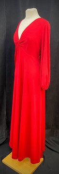 Chest 38 - Red long sleeve evening dress