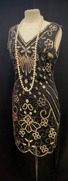 Chest 40 beaded flapper gown with long f
