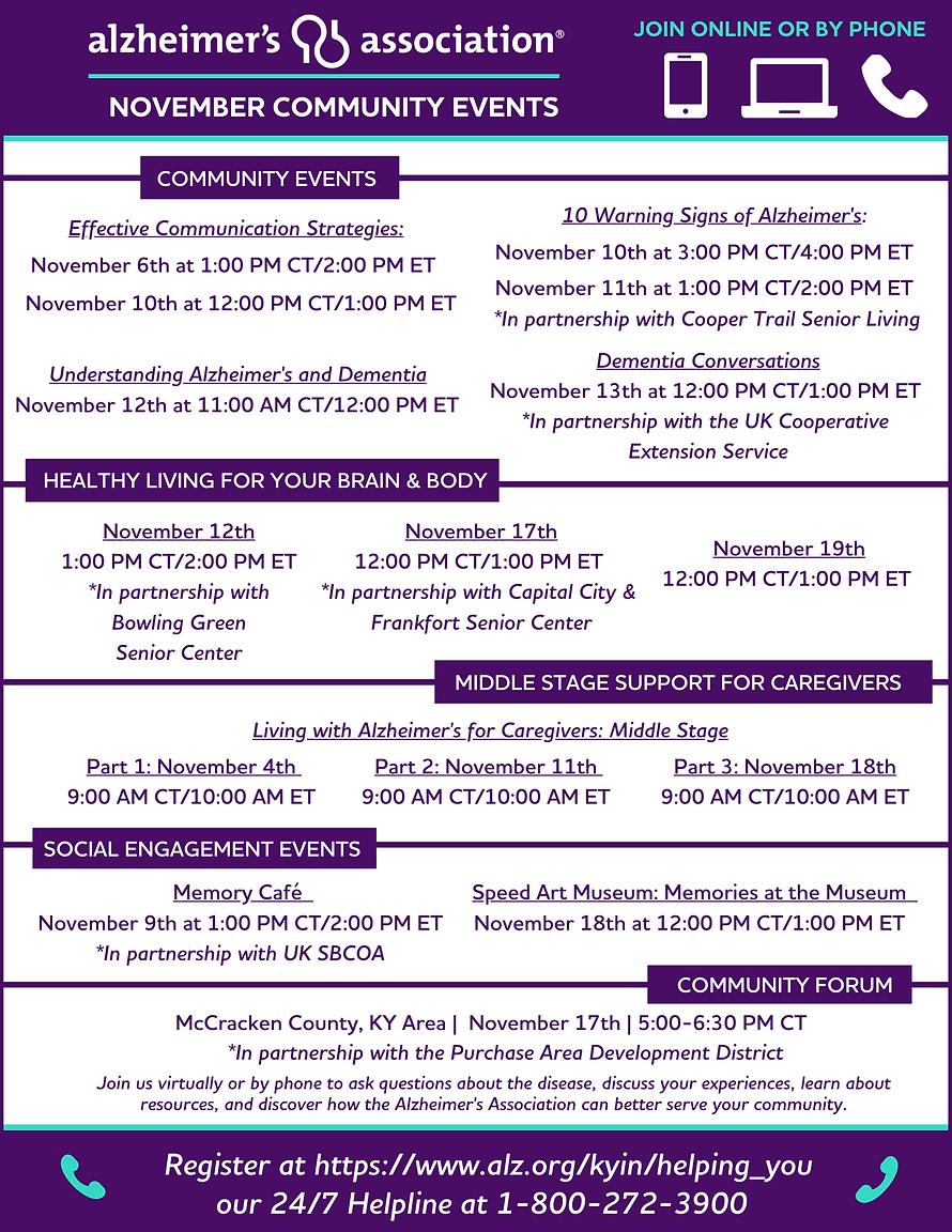 Graphic November Community Events Graphi