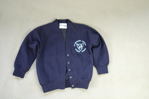 V neck Cardigan with School Crest