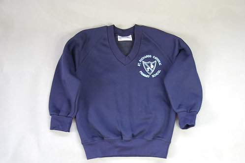 V Neck Sweatshirt with School Crest