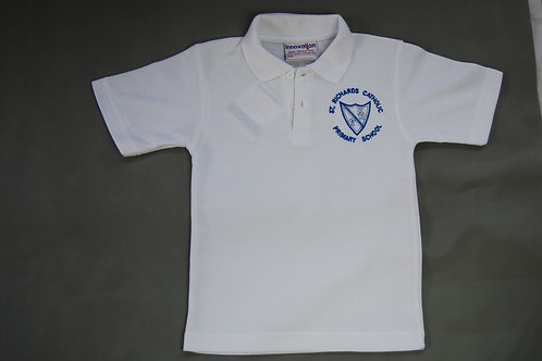 White Polo Shirt with School Crest