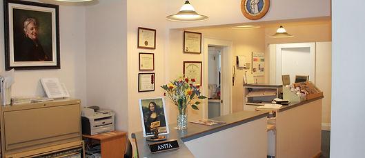 Reception area of the Pain Resolution Clinic in Kentville, Nova Scotia