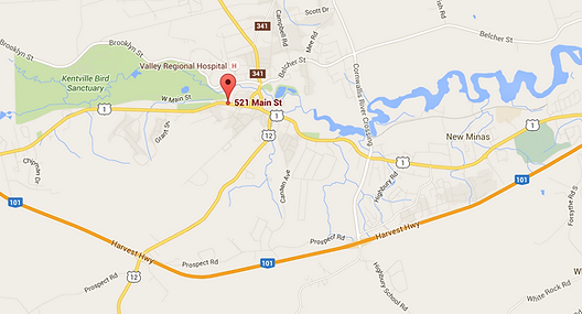 google map Pain Resolution Centre, 521 Main Street, Kentville Nova Scotia