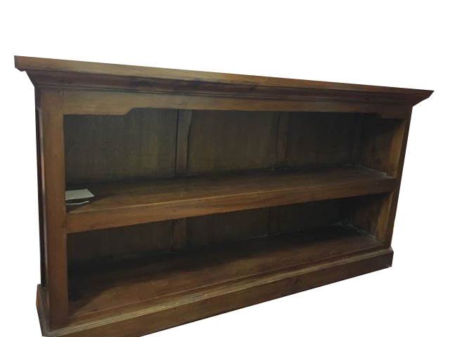 low bookcase with backing