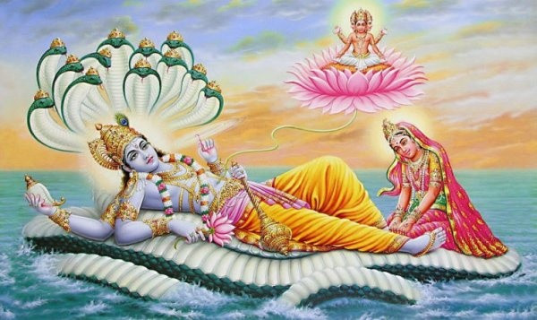 Le prince Narayana se reposant sur un océan de lait et la déesse Lakshmi à ses pieds. De son nombril sort une fleur de lotus sur laquelle est assis Brahma, symbolisant l'inconscient. Une allégorie pour expliquer que l'inconscient se manifeste pendant le Yoga Nidra.