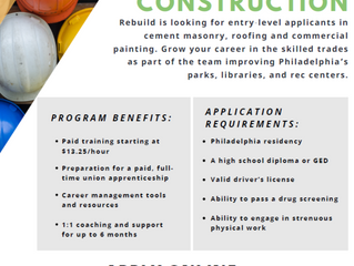 Apply now for Rebuild's Paid Pre-Apprenticeship Program!