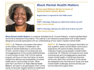 Webinar: Black Mental Health Matters – Feb 11 & 25