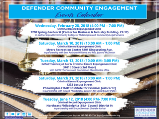 Defender Association Community Engagement Events Calendar