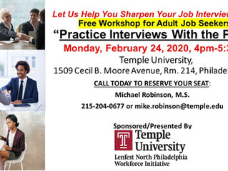 Temple Lenfest North Philadelphia Workforce Initiative Offering Practice Interviews Workshop for Adu