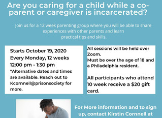 Pennsylvania Prison Society Facilitating Free 12 Week Parent/Caregiver Program