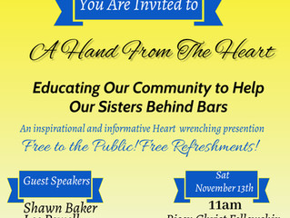 """Join Sister's Behind Bars for a """"Hand from the Heart"""" Presentation (11/13)"""
