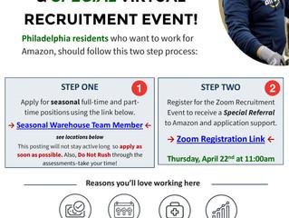 Amazon Seasonal Job Posting + Zoom Recruitment Session on 4/22 @ 11:00am