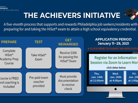 City Accepting Applications for Achievers Initiative; Free Coaching and Stipend for the HiSet Exam