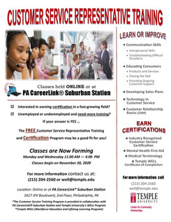 Temple University Offering Free Customer Service Representative Training