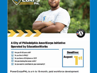 Apply now for PowerCorpsPHL! Deadline is August 1st