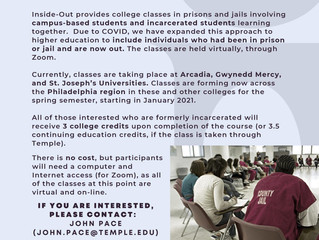 Inside Out Program Offering Free College Credit Courses to Formerly Incarcerated for Spring Semester