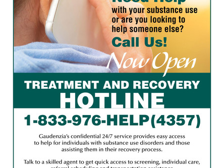Gaudenzia Running 24/7 Hotline for Individuals in Need of Help with Substance Use