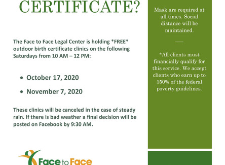 Face to Face Legal Clinic Hosting Two Free Birth Certificate Clinics