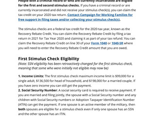 Stimulus Check Information for People with a Criminal Record or Currently Incarcerated