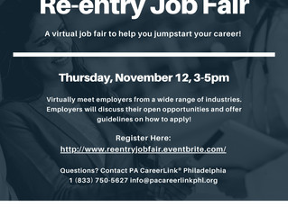 PA CareerLink Hosting Virtual Reentry Job Fair - November 12th