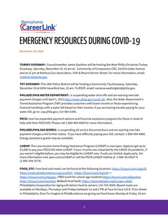 PA CareerLink Releases List of Emergency Resources During COVID-19