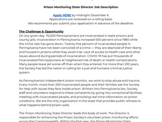 Pennsylvania Prison Society Looking to Hire Prison Monitor State Director