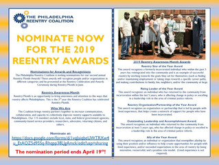 Deadline for Reentry Month Award Nominations Extended to April 19th!