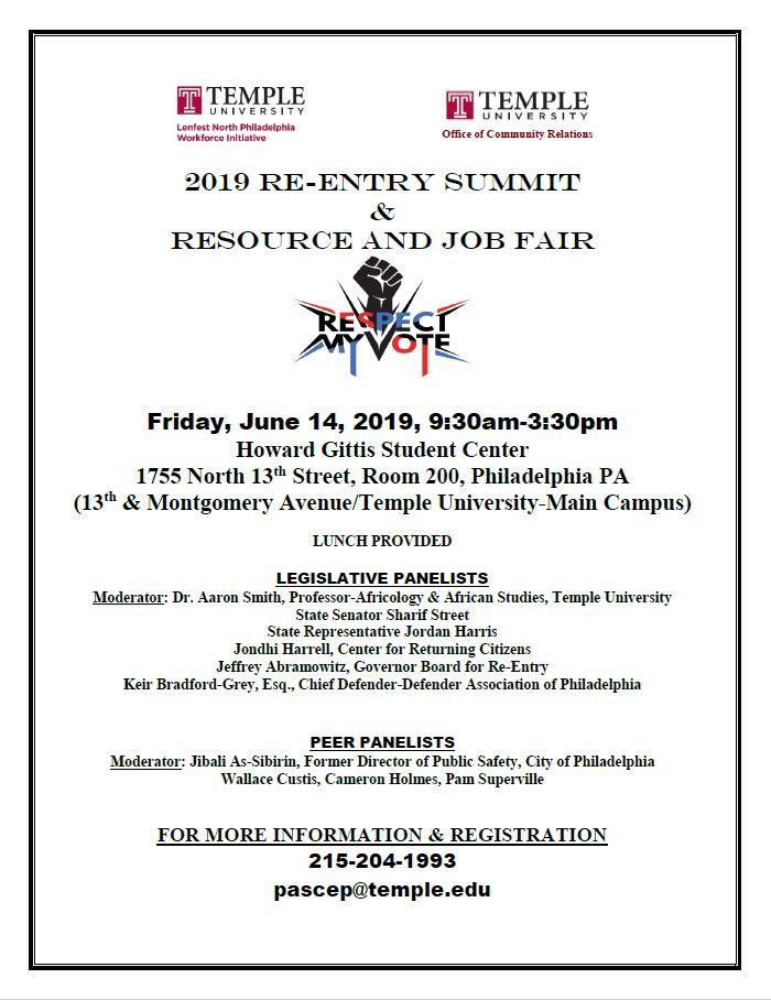 Temple Reentry Summit and Job & Resource Fair June 14th!