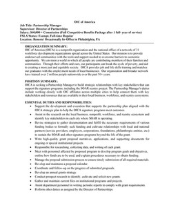 Philadelphia OIC Looking to Hire Partnership Manager