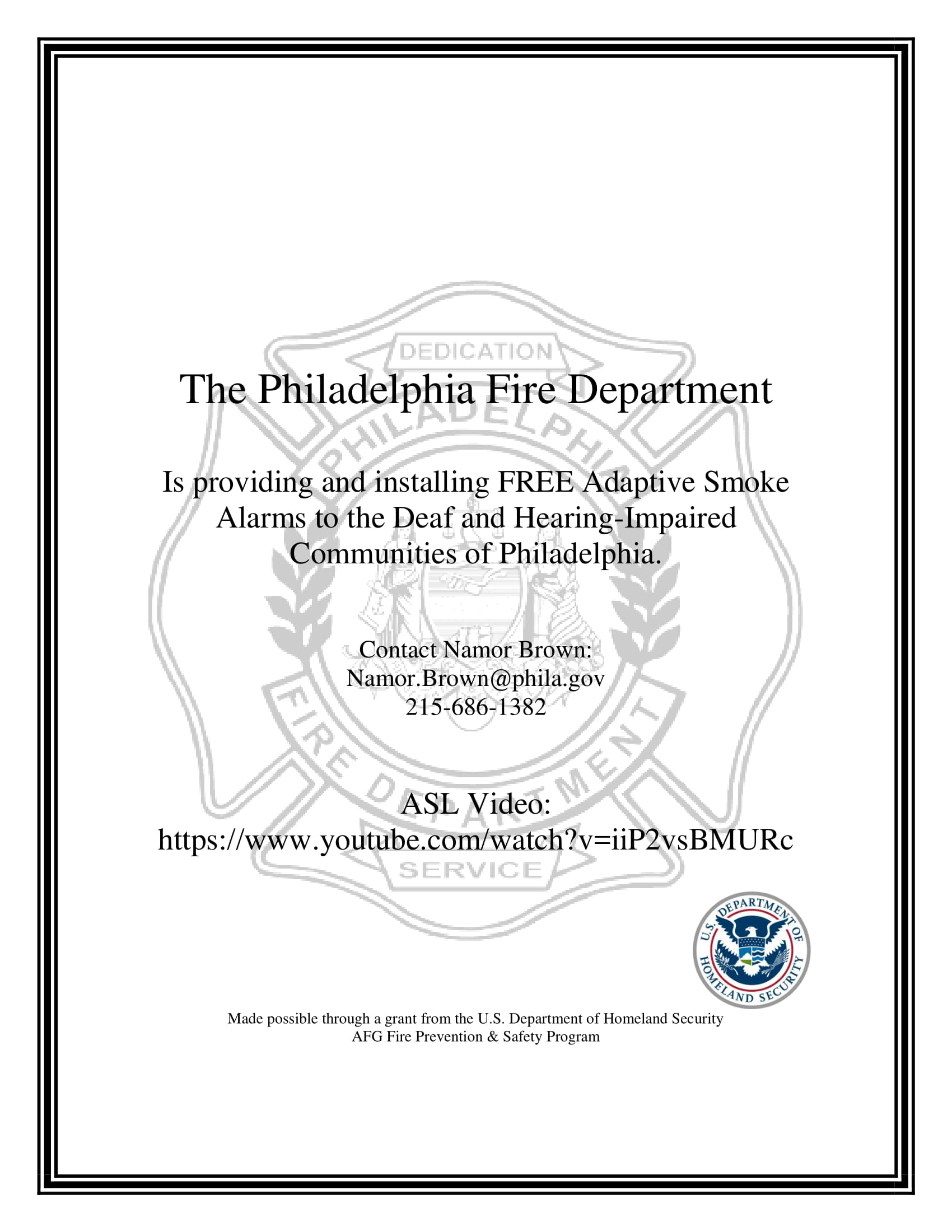 Philadelphia Fire Department Installing Adaptive Smoke