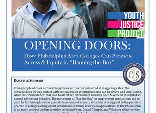 Community Legal Services just dropped a report on college admissions and students with criminal reco