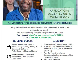 The Philadelphia Manufacturing Boot Camp Training Program is now accepting applications!
